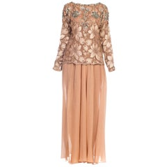Galanos Beaded Lace Evening Ensemble With Crystals & Chiffon Pants