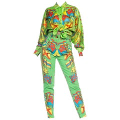 1990s Gianni Versace Miami Collection Silk Blouse & Cotton Jeans Set