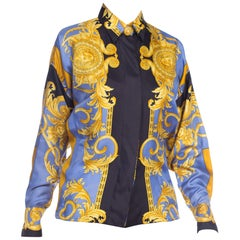 1990s Gianni Versace Gold Medusa Printed Silk Blouse