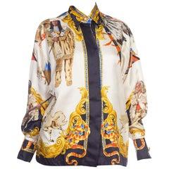 1990s Gianni Versace Native American Buffalo Bill Silk Blouse