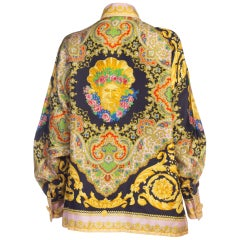 1990s Gianni Versace Baroque Silk Blouse With Giant Gold Buttons