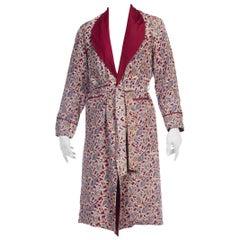 1950S Japanese Silk Fully Lined Hand Printed Paisley Mens Robe