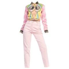 1990s Gianni Versace Pastel Pink Denim Jacket & Jeans
