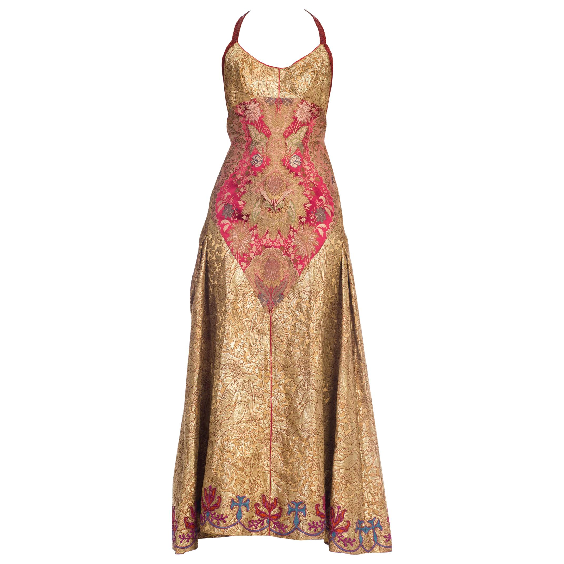 MORPHEW COLLECTION Crystal & Snakeskin Trimmed Gown Made From Antique Victorian