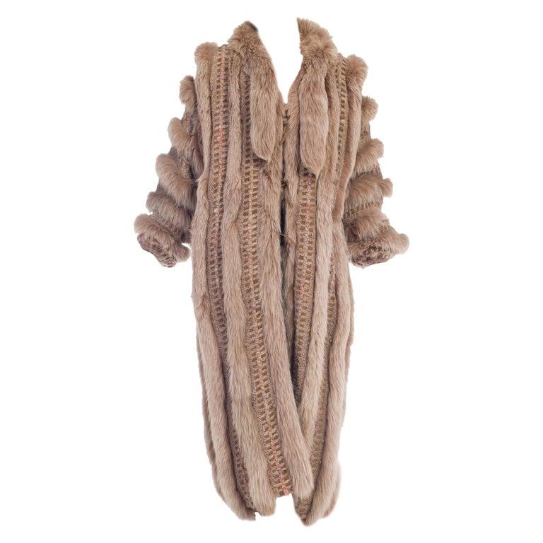 Wild Oversized Fox Fur & Knit Coat For Sale