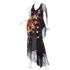 Bias Cut Backless Gown In Hand Embroidered 1920s Silk With Fringe & Coral Beads