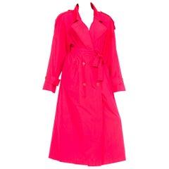 Neon Pink Salmon Rain Trench Coat