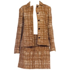 1996 Prada Sexy Grandma Tweed Mini Skirt Suit 1990s