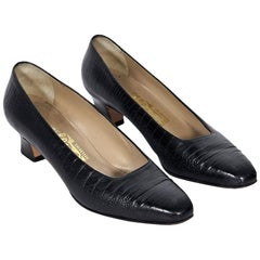 Black Salvatore Ferragamo Leather Kitten Heels