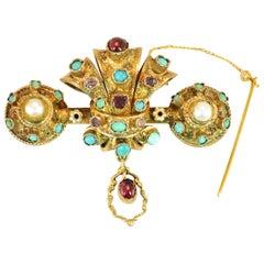 Georgian Baroque Brooch 10k Gold Amethyst Turquoise Pearls Circa 1840