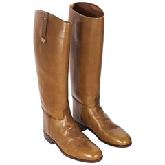 Tan Vintage Gucci Leather Riding Boots
