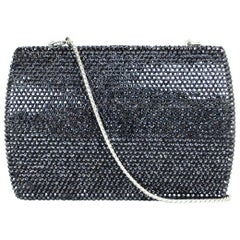 Judith Leiber Black Metallic Swarovski Crystal Minaudiere Evening Bag W/ Strap