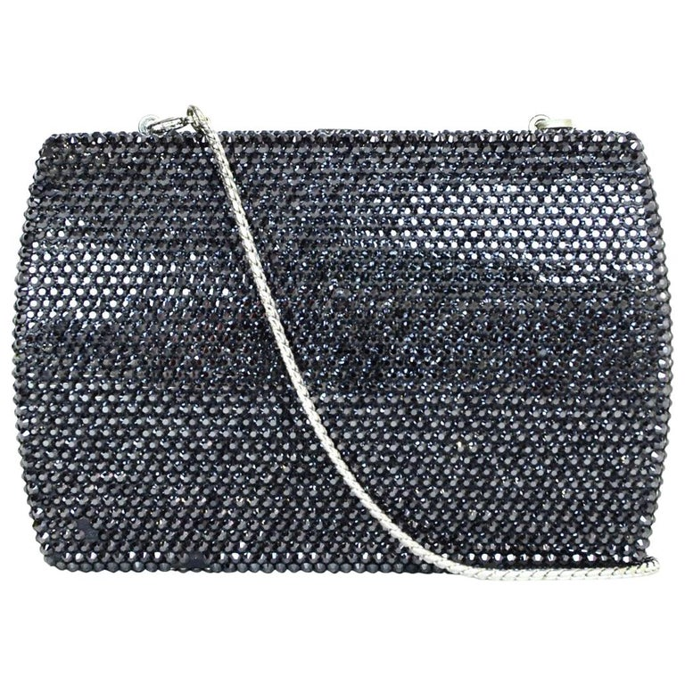 Judith Leiber Black Metallic Swarovski Crystal Minaudiere Evening Bag W/ Strap For Sale