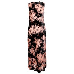 1994 ANN DEMEULEMEESTER pink and black velvet maxi dress