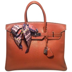 Hermes Tan 35cm Chevre Coromandel Leather Silver PDH Birkin Bag