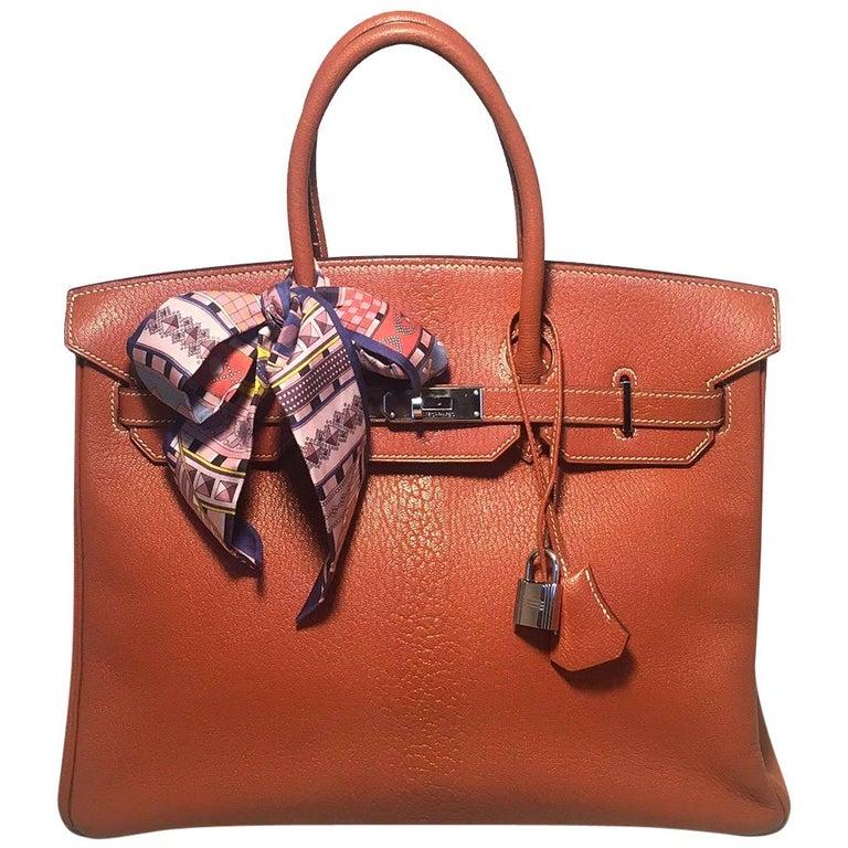 1266a054a590 Hermes Tan 35cm Chevre Coromandel Leather Silver PDH Birkin Bag For Sale