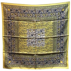 Hermes Vintage Chasse en Inde Yellow Silk Scarf