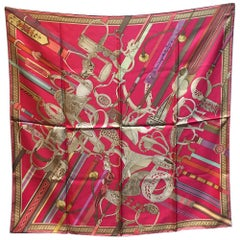 RARE Hermes Concours d'Etriers Silk Scarf in Pink