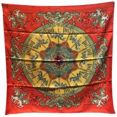 Hermes Vintage Luna Park Silk Scarf in Red
