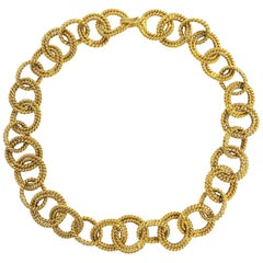 Chanel Chunky Gold Double Circle Rope Link Necklace