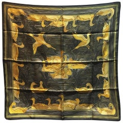 RARE Hermes Vintage Au Canards Duck Print Black and Gold Silk Scarf