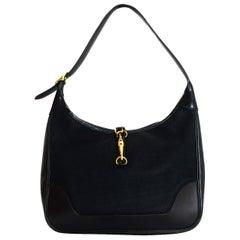Hermes Black Canvas & Leather Toile 31cm Trim Shoulder Bag W/ Goldtone Hardware