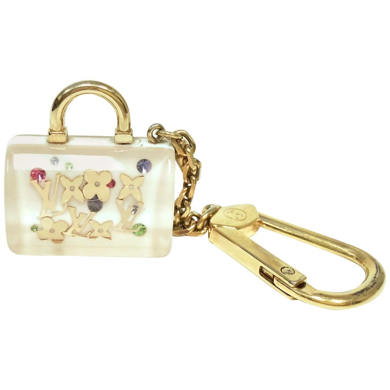 LOUIS VUITTON White Inclusion Speedy Key Holder and Bag Charm For Sale