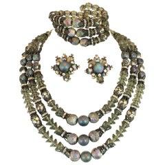 Hobe Mid-Century Iridescent Black Crystal Parure 1950s