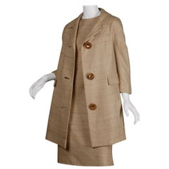 1960s Lilli Ann Vintage Neutral Raw Silk Coat + Dress 2-Piece Ensemble