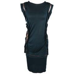 LANVIN Size XL Forest Green Jersey Gold Ruffle Trimmed Sleeveless Dress