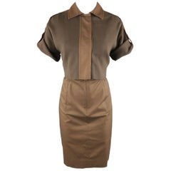 AKRIS Size 8 Brown Sleeveless Shift Dress & Jacket 2 PC Dress Ensemble