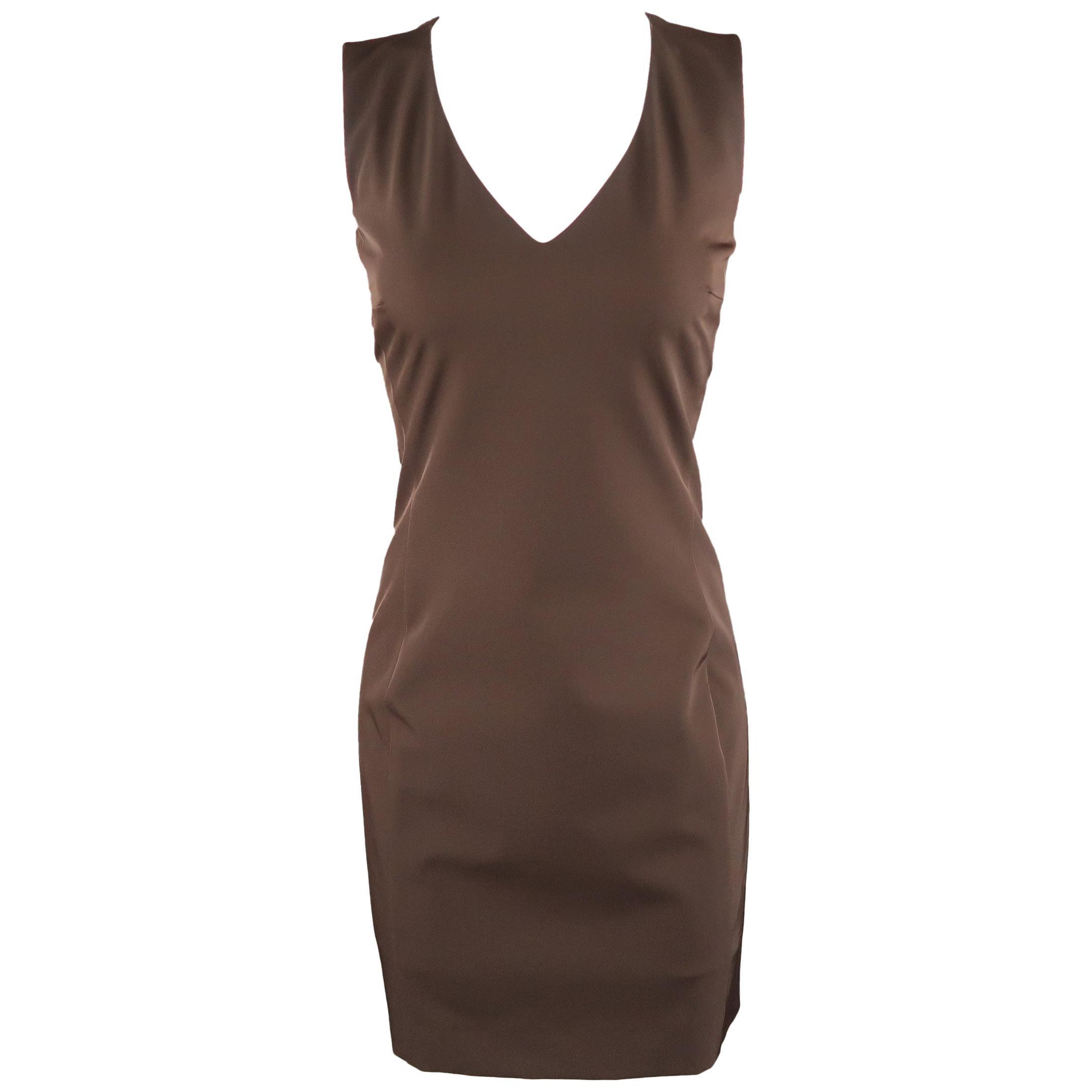 PRADA Size 4 Brown Twill V Neck Sleeveless Shift Dress