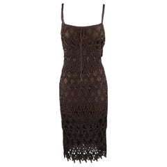 RALPH LAUREN Size M Brown Crochet Silk Lined Spaghetti Strap Sheath Dress