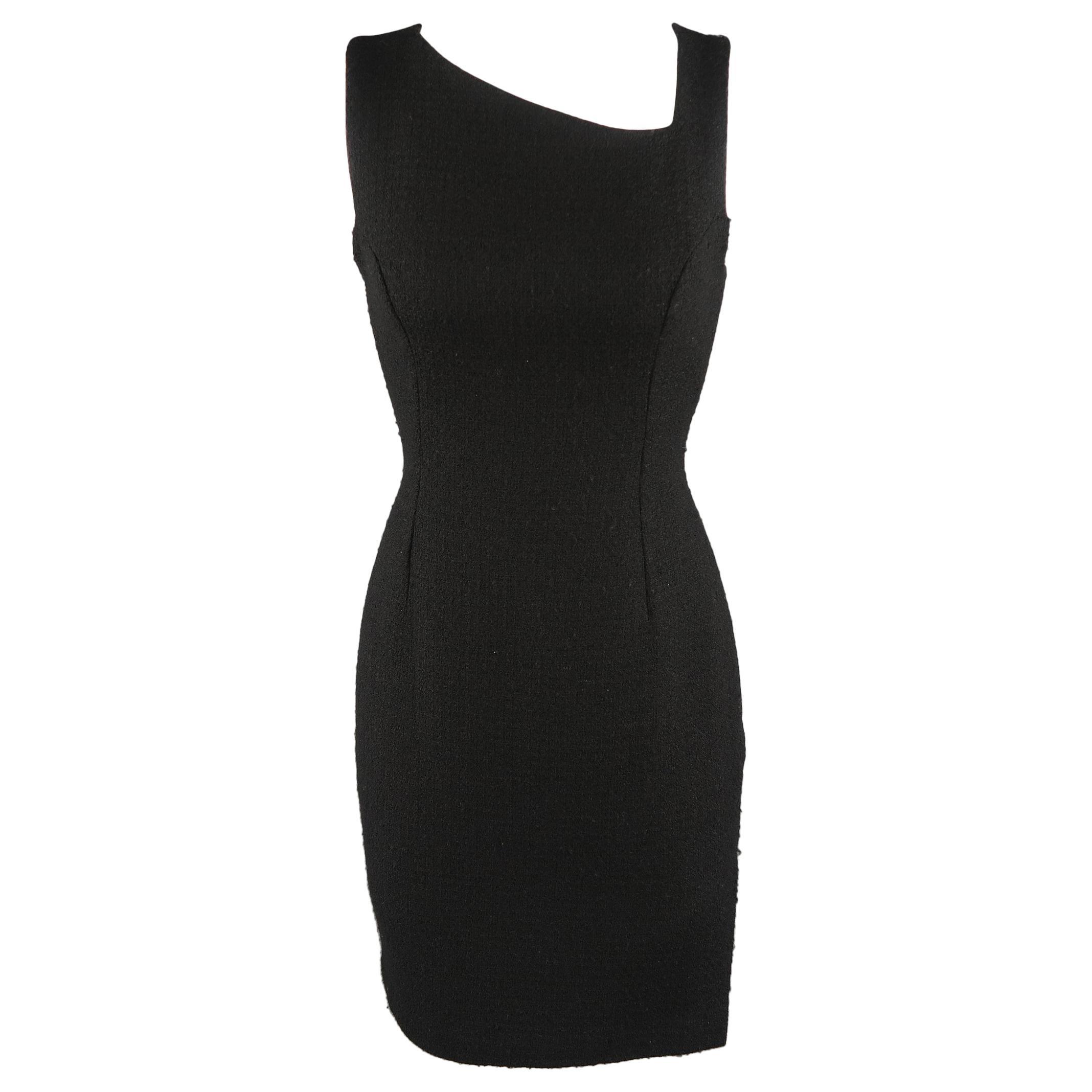 VERSUS by GIANNI VERSACE Size 4 Black Wool Blend Tweed Asymmetrical Dress