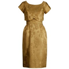 1960s Vintage Gold Brocade Convertible 2-Piece Cocktail Dress