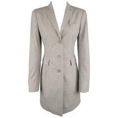 AKRIS Size 6 Light Heather Gray Notch Lapel Three Button Coat