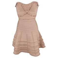 HERVE LEGER S Pink Ruffed Bandage Sweetheart Strapless Flair Skirt Dress