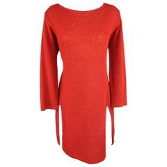 RALPH LAUREN Size L Red Linen Knit Boat Neck Slit Hem Tunic Pullover