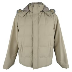 LORO PIANA Jacket - 44 Khaki Quilted Nylon Detachable Fur Hood Down Puff