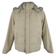 LORO PIANA Jacket - 44 Khaki Quilted Nylon Detachable Fur Hood Down Puff