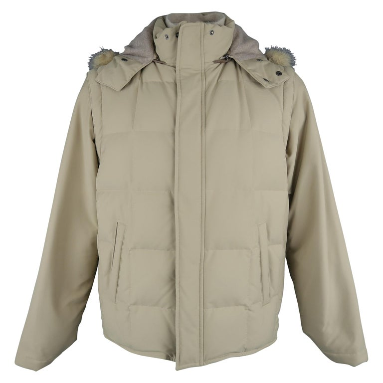 LORO PIANA Jacket - 44 Khaki Quilted Nylon Detachable Fur Hood Down Puff For Sale