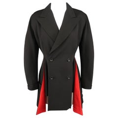YOHJI YAMAMOTO Size S Black Wool Peack Lapel Red Lined Double Breasted Jacket