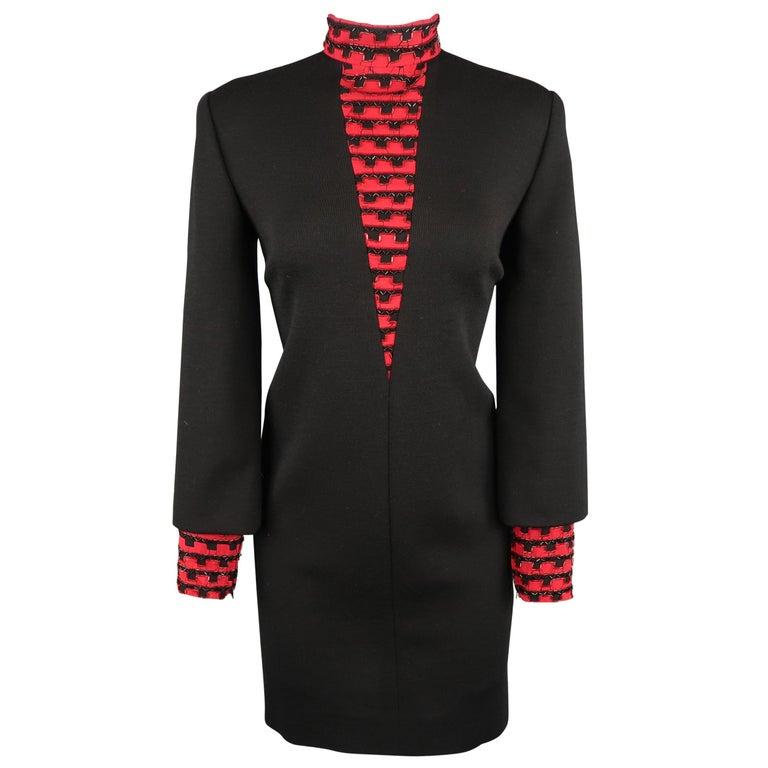 Vintage 1980's BOB MACKIE Size L Black Jersey Red Beaded Neck Dress For Sale