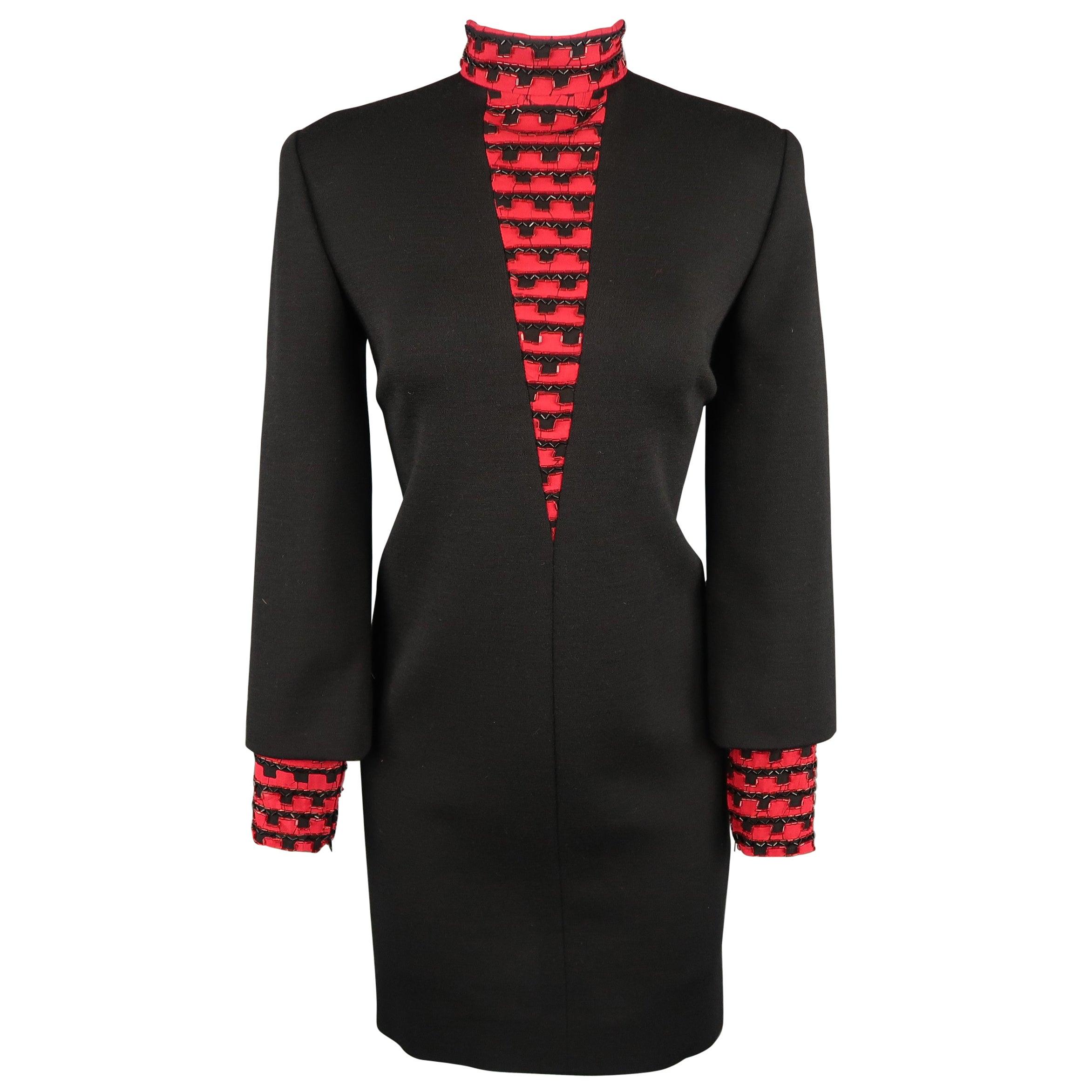 Vintage 1980's BOB MACKIE Size L Black Jersey Red Beaded Neck Dress