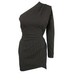 MICHELLE MASON Size 0 Black Pinstripe One Shoulder Asymmetrical Mini Dress