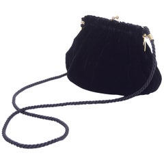 Gucci Handbag Vintage Black Velvet Evening Bag W/ Shoulder Strap
