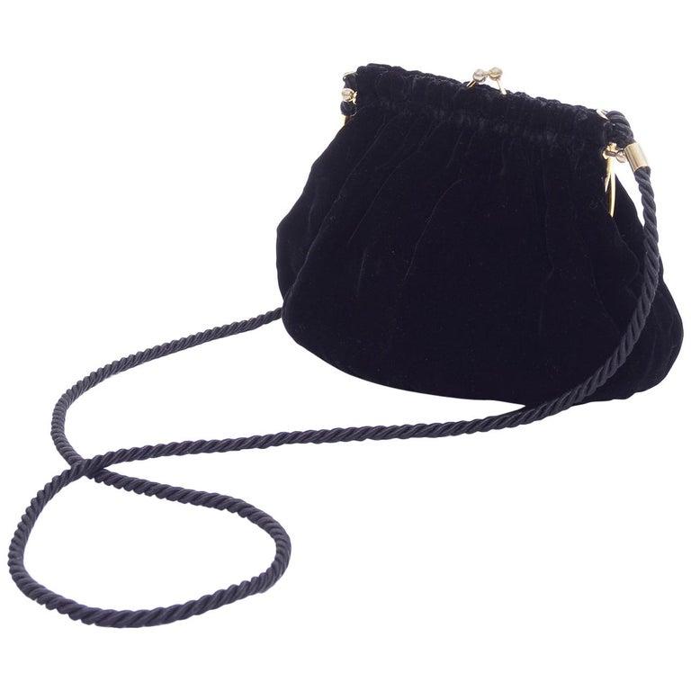 Gucci Handbag Vintage Black Velvet Evening Bag W/ Shoulder Strap