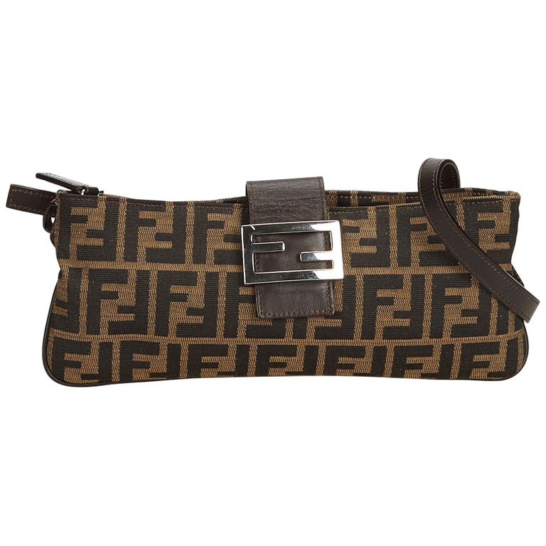 91e85cc79017 Fendi Brown x Dark Brown x Black Zucca Jacquard Crossbody Bag For Sale