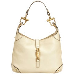 Gucci White x Ivory New Jackie Leather Hobo