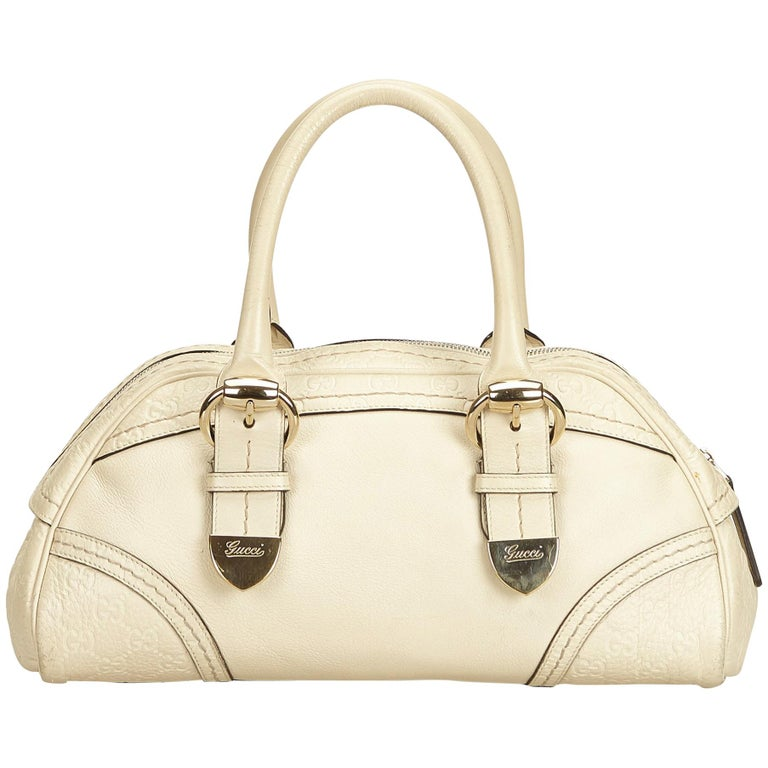 Gucci White x Ivory Guccissima Leather Shoulder Bag For Sale
